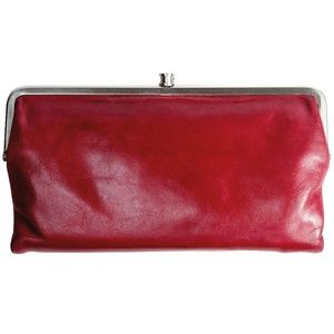HOBO LAUREN Bifold Glazed Leather Wallet Wine Red